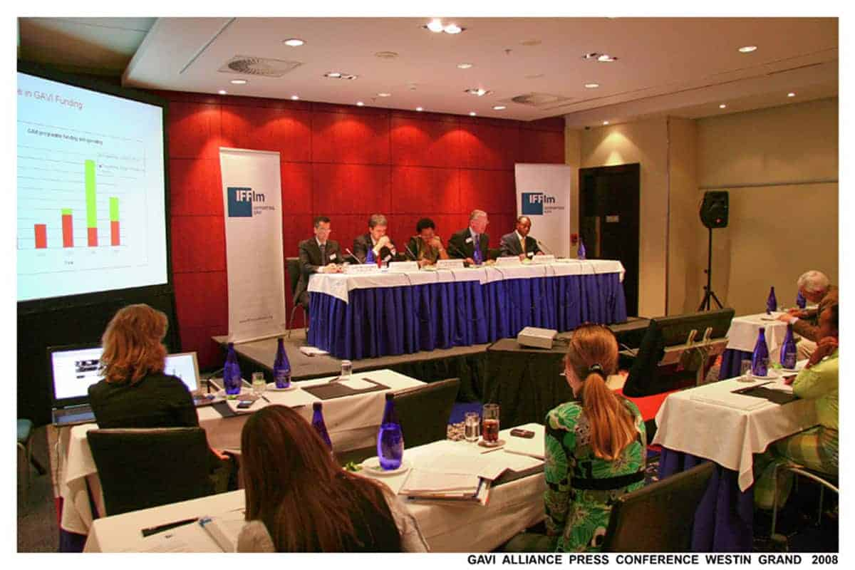Gavi Alliance Press Conference ar Arabella Sheraton Hotel, Cape Town, South Africa.